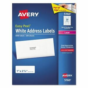 Avery 5160 Easy Peel Address Labels Laser 1 X 2 5 8 White 6 000 Labels