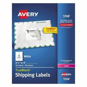 Avery Shipping Labels With Trueblock Technology 3 1 2 X 5 White 400 Per Box