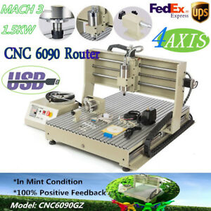 4 Axis Cnc Usb 1 5kw 6090 Router Engraver Mach3 Drill mill Water cooling Machine