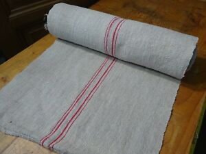 A Homespun Linen Hemp Flax Yardage 11yds X 21 Red 10275