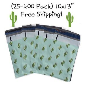 Free Shipping 25 400 Pack 10x13 Cactus Designer Poly Mailers