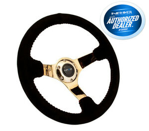 Nrg Innovations Race Series Steering Wheel Black Suede Gold Spokes Rst 036gd s