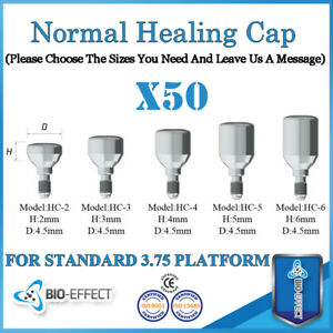 50x Dental Titanium Regular Healing Caps For Internal Hex System Dental Implants
