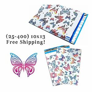 Free Shipping 25 400 Pack 10x13 Colorful Butterfly Designer Poly Mailers