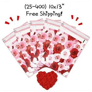 Free Shipping 25 400 Pack 10x13 Roses Poly Mailers