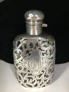 Vintage Sterling Silver Overlay Glass Ladies Flask By Alvin Co