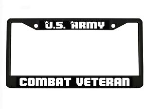 Us Army Combat Veteran Chrome Metal Auto License Plate Frame Car Tag Holder