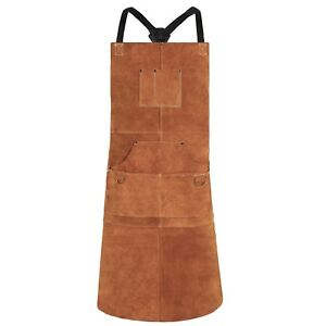 Welding Apron Leather Heat Flame Resistant Heavy Duty 6 Pockets Unisex Brown New