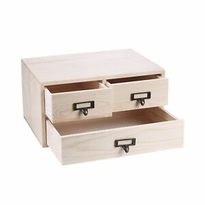 Small Natural Wood Office Storage Cabinet Jewelry Organizer With 3 Drawers