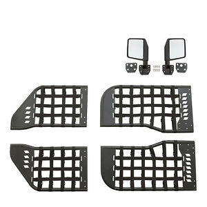 07 18 Jeep Jk Wrangler 4 Door Black Trail Matrix Tube Door Set With Mirrors Pair