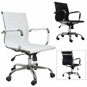 Adjustable Executive Office Computer Chair Swivel Ribbed Conference Seats Comfy