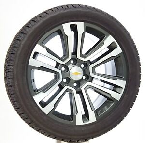 Chevy Silverado Tahoe 22 Gunmetal Machine Wheels Rims Bridgestone Tires