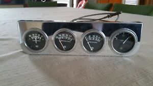 Vtg Stewart Warner Under Dash Chrome Gauge Panel Coffin Needle Gas Water Oil Amp