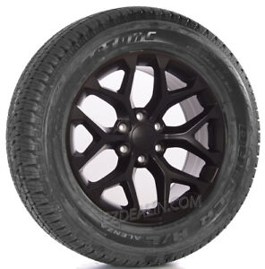 Chevy Silverado 20 Satin Black Snowflake Wheels Bridgestone Tires Tahoe Ltz Z71