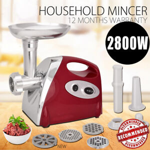 2800w Electric Meat Grinder Stainless Steel Sausage Stuffer Maker Home Use Red