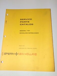 Sperry New Holland Service Parts Catalog 791 Manure Spreader