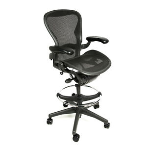 Herman Miller Aeron Drafting Stool With After Market Ring Size B Free Warranty