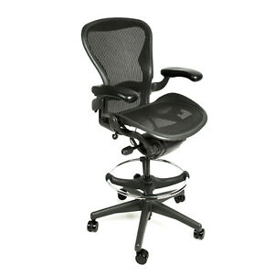 Herman Miller Aeron Drafting Stool With After Market Ring Office Chair