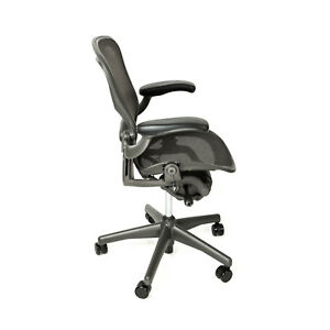 Herman Miller Aeron Size B Office Chair With Free Carpet Floor Mat