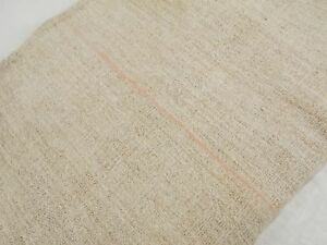 Vtg Antique Peach Stripe European Hemp Linen Fabric Feed Sack Grain Bag 23x50