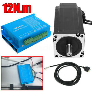 Nema34 12n m 6a Closed Loop Cnc Stepper Motor Encoder Hbs86h Hybrid Servo Driver