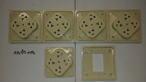 Lot Of 5 Hbl420s Ivory Hubbell 420 Quadplex Surge Suppression Outlet Receptical