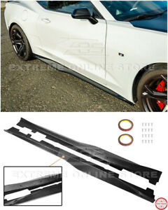 Zl1 Style Carbon Fiber Side Skirts Rocker Panel Extension For 16 up Camaro Rs Ss