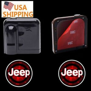 1pair For Jeep Logo Wireless Led Car Door Welcome Logo Projectors Lights