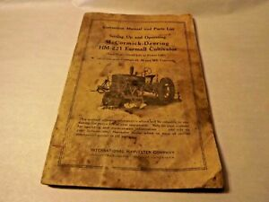 Ih Mccormick deering Farmall Cultivator Hm 221 Instruction Manual