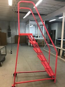 Commercial Rolling Ladder Metal 6 Steps Used Good Condition