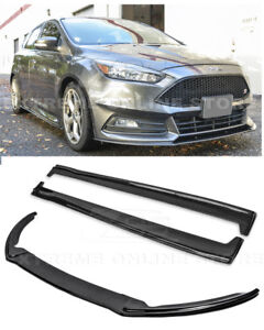 For 15 Up Ford Focus St Carbon Fiber Add On Front Lip Splitter Side Skirts
