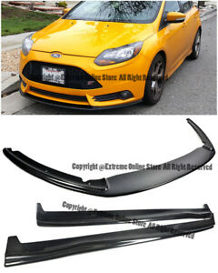 For 13 14 Ford Focus St Carbon Fiber Add On Front Bumper Splitter W Side Skirts
