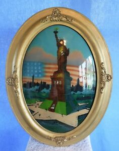 Antique Vintage Convex Glass Oval Picture Frame Statue Of Liberty
