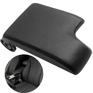 Armrest Center Console Lid Cover For Bmw E46 99 04 Black Leather Synthetic