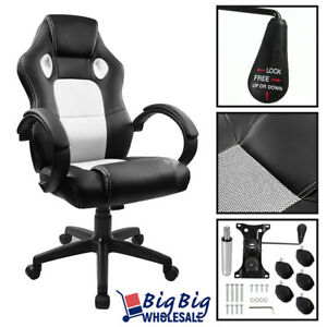white gaming Leather High Back Executive Office Desk Computer Chair Bucket Seat