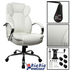 Executive Office Chair Swivel Pu Leather High Back Desk Task Computer white