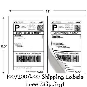 Free Shipping 100 200 400 Pack Self Adhesive Shipping Labels