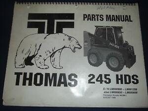 Thomas 245 Hds Skid Steer Loader Parts Manual Book Catalog