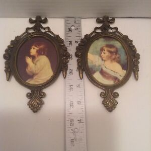 Set Of 2 Vintage Victorian Metal Oval Picture Frames Floral Girls Made In Italy