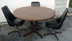 Chromcraft 68 Mid Century Modern 48 Dining Table 3 Swivel Chairs