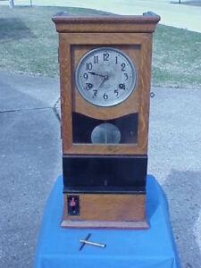 1923 International Time Recording Clock Oak Case St Louis Mo Very Good