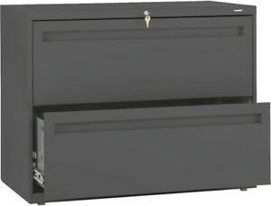 Hon 700 Series 36w 2 Drawer Lateral File Charcoal Lock Key Cabinet New