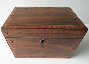 Antique Georgian Mahogany Tea Caddy W Grand Inlay 1800 S
