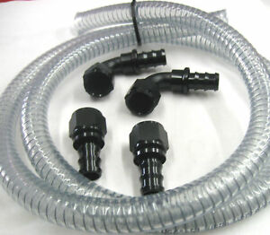 12 An Vacuum Pump Hose Black Fitting Kit Drag Race Street Nascar Marine