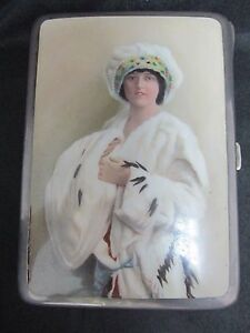 Collectible Rare Antique 935 Silver Enamel Cigarette Case