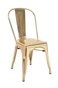 New Indoor Steel Chair In Gold Finish Commercial Equipment Restaurant Furniture