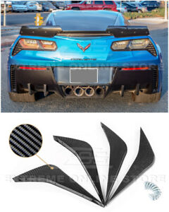 For 14 Up Corvette C7 Painted Black Rear Bumper Lower Air Diffuser Fin 2 Pairs