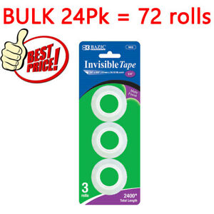 Bazic 3 4 X 800 Invisible Tape Refill 3 pack