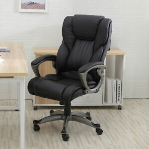 High Back Office Chair Padded Executive Chair Computer Desk Chair Pu Leather