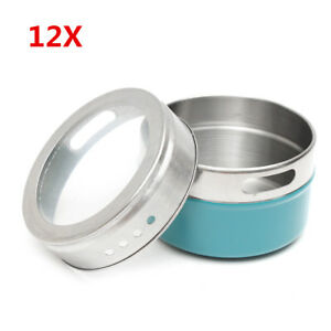 12pcs Stainless Steel Magnetic Spice Tins Storage Container Jars With C
